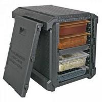 Thermobox für GN-Behälter / Tabletts, anthrazit, EPP, mit Fronteinschub und Deckel, Inhalt 83 Liter