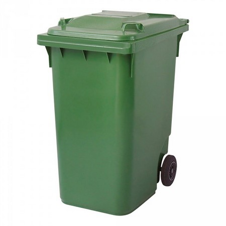Großmülltonne 360 Liter, fahrbar, grün