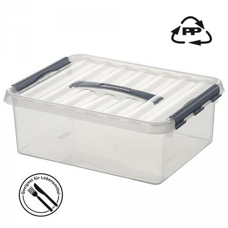Stapelbare Klarsichtbox mit Deckel, lebensmittelecht, 300 x 300 x 140 mm, 12 Liter
