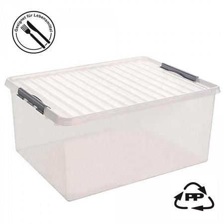 Stapelbare Klarsichtbox mit Deckel, lebensmittelecht, 800 x 500 x 380 mm, 120 Liter