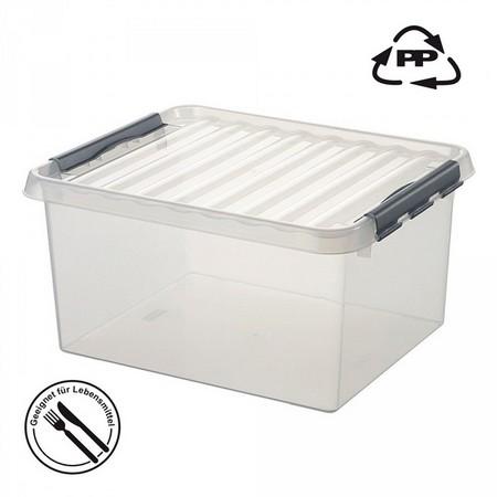 Stapelbare Klarsichtbox mit Deckel, lebensmittelecht, 500 x 400 x 260 mm, 36 Liter