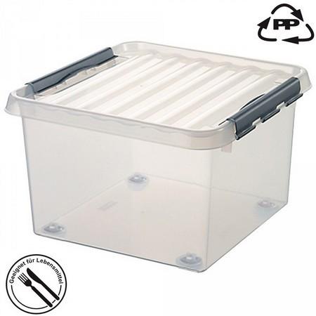 Stapelbare Klarsichtbox mit Deckel, mit 4 Rollen, lebensmittelecht, 400 x 400 x 200 mm, 18 Liter