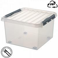 Stapelbare Klarsichtbox mit Deckel, mit 4 Rollen, lebensmittelecht, 400 x 400 x 280 mm, 26 Liter
