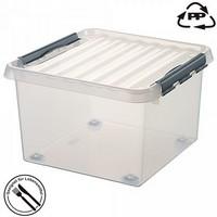 Stapelbare Klarsichtbox mit Deckel, mit 4 Rollen, lebensmittelecht, 400 x 400 x 400 mm, 38 Liter