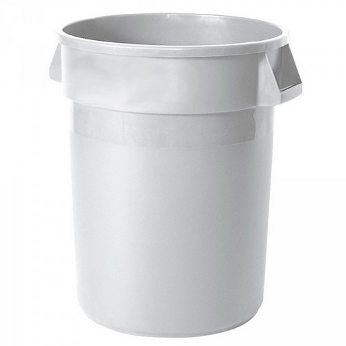 Rubbermaid Kunststofftonne FG262000WHT, Inhalt 76 Liter, Ø x H 580 x 495 mm, Polyethylen-Kunststoff (PE), weiß