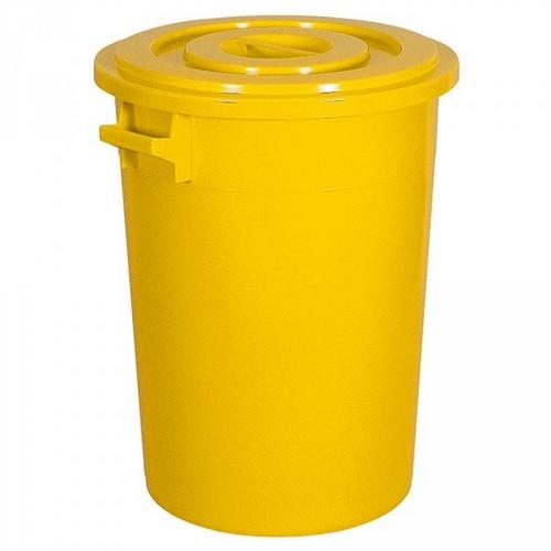 Kunststofftonne 100 Liter, Ø oben/unten 520/415 mm, H 670 mm, Polyethylen-Kunststoff (PE-HD), gelb