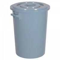 Kunststofftonne 100 Liter, Ø oben/unten 520/415 mm, H 670 mm, Polyethylen-Kunststoff (PE-HD), grau
