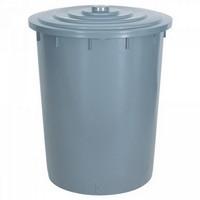 Kunststofftonne 200 Liter, Ø oben/unten 670/540 mm, H 790 mm, Polyethylen-Kunststoff (PE-HD), grau