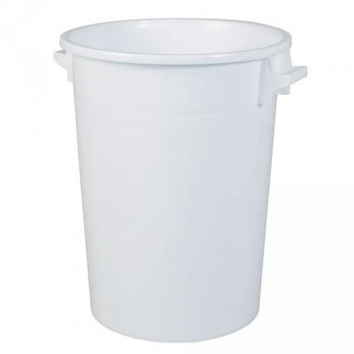 Kunststofftonne 100 Liter, Ø oben/unten 520/415 mm, H 670 mm, Polyethylen-Kunststoff (PE-HD), weiß