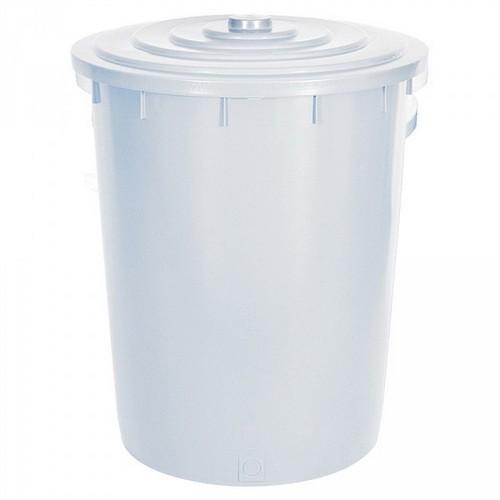 Kunststofftonne 200 Liter, Ø oben/unten 670/540 mm, H 790 mm, Polyethylen-Kunststoff (PE-HD), weiß