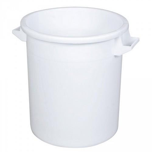 Kunststofftonne 50 Liter, Ø oben/unten 450/360 mm, H 480 mm, Polyethylen-Kunststoff (PE-HD), weiß