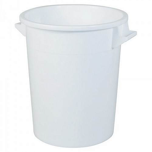 Kunststofftonne 75 Liter, Ø oben/unten 495/385 mm, H 570 mm, Polyethylen-Kunststoff (PE-HD), weiß