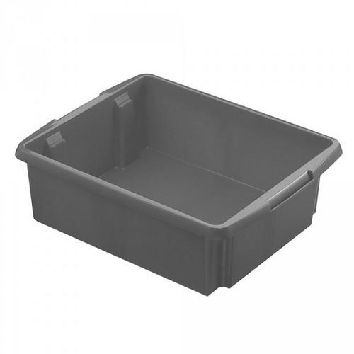Drehstapelbehälter, leichte Ausführung, lebensmittelecht Inhalt 17 Liter, LxBxH 455 x 360 x 145 mm, Polypropylen (PP), grau