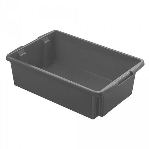 Drehstapelbehälter, leichte Ausführung, lebensmittelecht Inhalt 30 Liter, LxBxH 595 x 395 x 170 mm, Polypropylen (PP), grau