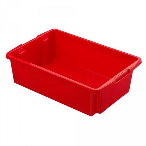 Drehstapelbehälter, leichte Ausführung, lebensmittelecht Inhalt 30 Liter, LxBxH 595 x 395 x 170 mm, Polypropylen (PP), rot