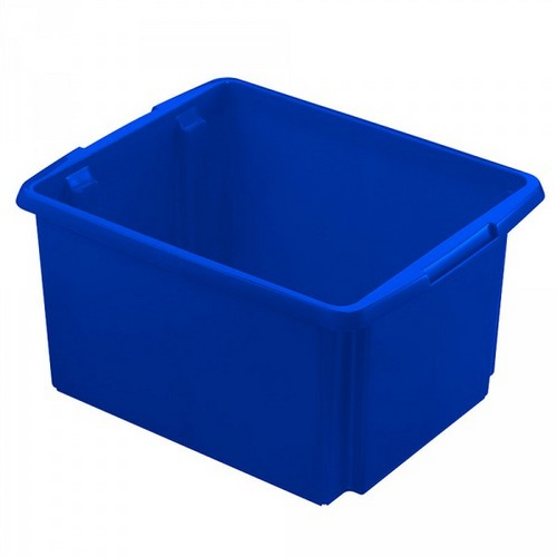 Drehstapelbehälter, leichte Ausführung, lebensmittelecht, Inhalt 32 Liter, LxBxH 455 x 360 x 245 mm, Polypropylen (PP), blau