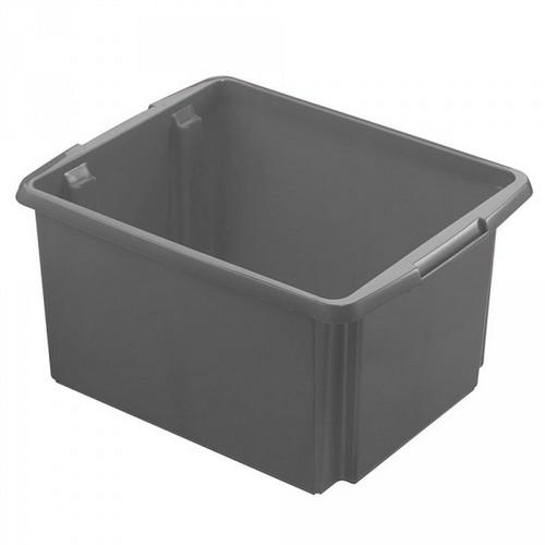 Drehstapelbehälter, leichte Ausführung, lebensmittelecht, Inhalt 32 Liter, LxBxH 455 x 360 x 245 mm, Polypropylen (PP), grau