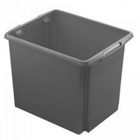 Drehstapelbehälter, leichte Ausführung, lebensmittelecht, Inhalt 45 Liter, LxBxH 455 x 360 x 360 mm, Polypropylen (PP), grau