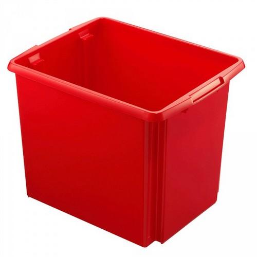 Drehstapelbehälter, leichte Ausführung, lebensmittelecht, Inhalt 45 Liter, LxBxH 455 x 360 x 360 mm, Polypropylen (PP), rot
