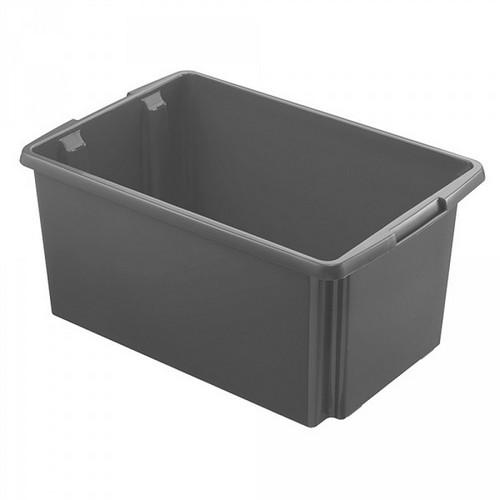 Drehstapelbehälter, leichte Ausführung, lebensmittelecht, Inhalt 51 Liter, LxBxH 595 x 395 x 280 mm, Polypropylen (PP), grau