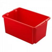 Drehstapelbehälter, leichte Ausführung, lebensmittelecht, Inhalt 51 Liter, LxBxH 595 x 395 x 280 mm, Polypropylen (PP), rot