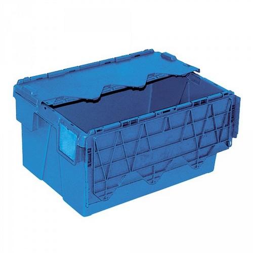 Mehrwegbehälter ALC64305 mit anscharniertem Deckeln, LxBxH 600 x 400 x 305 mm, 54 Liter, blau