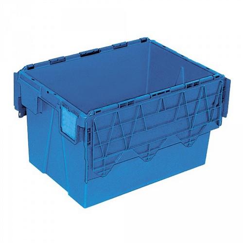 Mehrwegbehälter ALC64365 mit anscharniertem Deckeln, LxBxH 600 x 400 x 365 mm, 65 Liter, blau