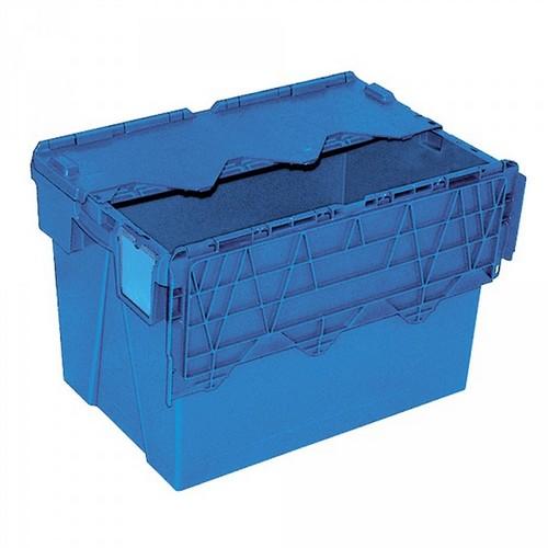 Mehrwegbehälter ALC64400 mit anscharniertem Deckeln, LxBxH 600 x 400 x 400 mm, 70 Liter, blau