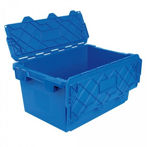 Mehrwegbehälter ALC74355 mit anscharniertem Deckeln, LxBxH 715 x 465 x 355 mm, 75 Liter, blau