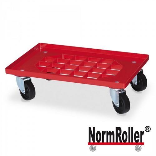 NormRoller für Stapelbehälter 600 x 400 mm u. 400 x 300 mm, rot, Gitter-Ladefläche