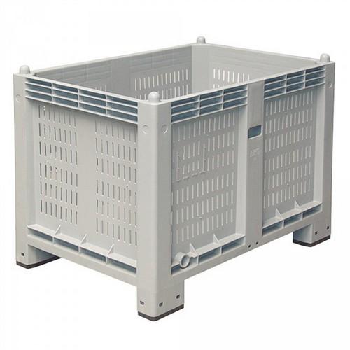 Palettenbox mit 4 Füßen, mit durchbrochenen Wänden, LxBxH 1200 x 800 x 850 mm, Farbe: grau