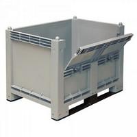 Palettenbox mit 2 Kufen u. Kommissionierklappe, Boden/Wände geschlossen, LxBxH 1200 x 800 x 850 mm, Farbe grau