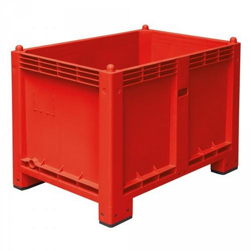 Palettenbox mit 4 Füßen, LxBxH 1200 x 800 x 850 mm, Farbe: rot