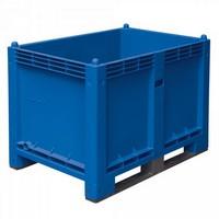 Palettenbox mit 2 Kufen, Boden/Wände geschlossen, Tragkraft 500 kg, LxBxH 1200 x 800 x 850 mm, Farbe: blau