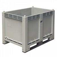 Palettenbox mit 2 Kufen, Boden/Wände geschlossen, Tragkraft 500 kg, LxBxH 1200 x 800 x 850 mm, Farbe: grau