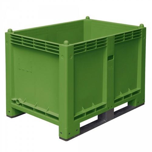 Palettenbox mit 2 Kufen, Boden/Wände geschlossen, Tragkraft 500 kg, LxBxH 1200 x 800 x 850 mm, Farbe: grün