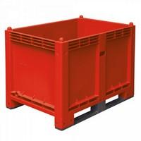 Palettenbox mit 2 Kufen, Boden/Wände geschlossen, Tragkraft 500 kg, LxBxH 1200 x 800 x 850 mm, Farbe: rot