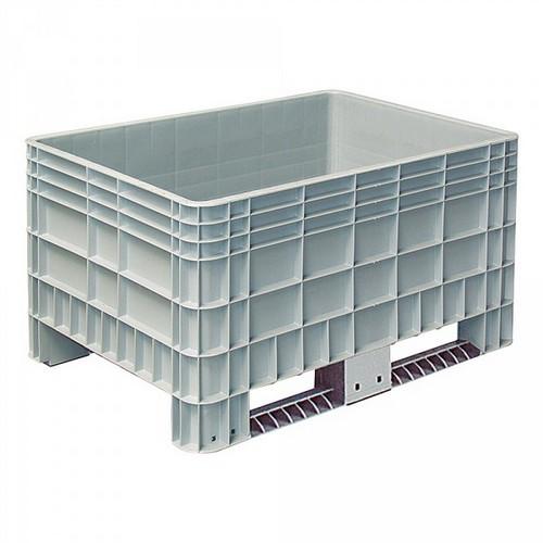 Palettenbox mit Außenrippen und 2 Kufen, Material PE-HD, Außenmaße LxBxH 1200 x 800 x 650 mm, grau