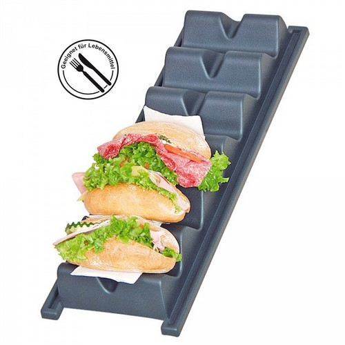 Snackpresenter / Snackwelle für 6 Brötchen/Baguettes, LxBxH 595 x 195 x 80 mm, Wellenbreite 150 mm, Polystyrol-Kunststoff (PS), anthrazit
