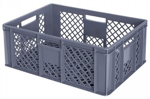 Stapelbehälter / Bäckerkiste 600 x 400 x 240 mm, 43 Liter, grau