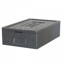 Thermobox GN 1/1, LxBxH 600 x 400 x 180 mm, Inhalt 20 Liter, mit Deckel, anthrazit