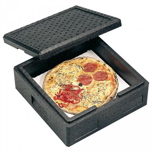 Pizzabox, Thermobox Gr. 3 mit Deckel, EPP-Kunststoff, anthrazit, Inhalt 12 Liter, LxBxH 410 x 410 x 165 mm