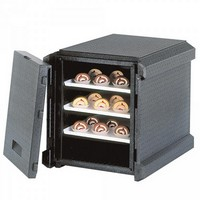Thermobox mit Fronteinschub und Deckel, anthrazit, EPP, BxTxH 610 x 700 x 610 mm, Inhalt 129 Liter
