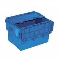Versandbehälter mit Deckel, 400 x 300 x 265 mm, 22 Liter, blau