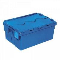 Versandbehälter mit Deckel, 600 x 400 x 265 mm, 48 Liter, blau