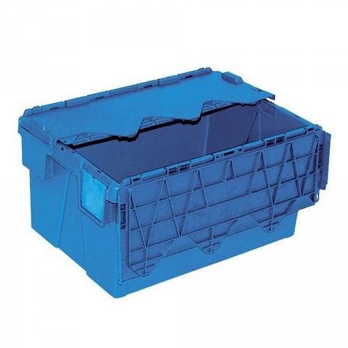 Versandbehälter ALC64305 mit anscharniertem Deckeln, LxBxH 600 x 400 x 305 mm, 54 Liter, blau