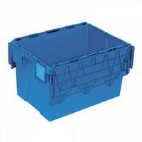 Versandbehälter mit Deckel, 600 x 400 x 365 mm, 65 Liter, blau