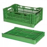 Klappbarer Stapelkorb für Obst u. Gemüse, Inhalt 36 Liter, LxBxH 600 x 400 x 180 mm, grün