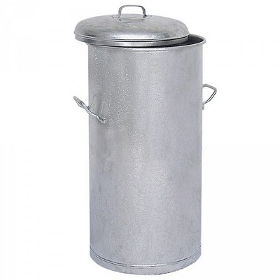 Runde Mülltonne aus feuerverzinktem Stahlblech, 2 Tragegriffe, Inhalt 100 Liter