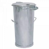 Runde Mülltonne aus feuerverzinktem Stahlblech, mit Deckel / 2 seitliche Handgriffe, Inhalt 110 Liter